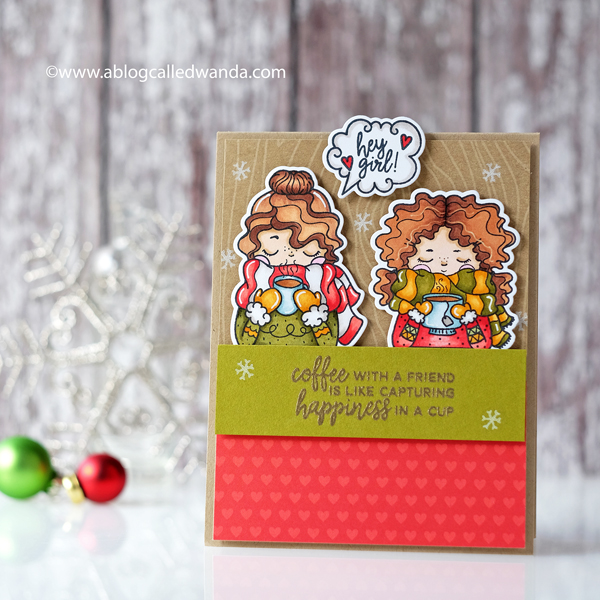 Right At Home Stamps - Cuppa Friendship. Copic Markers. Christmas card for friends.