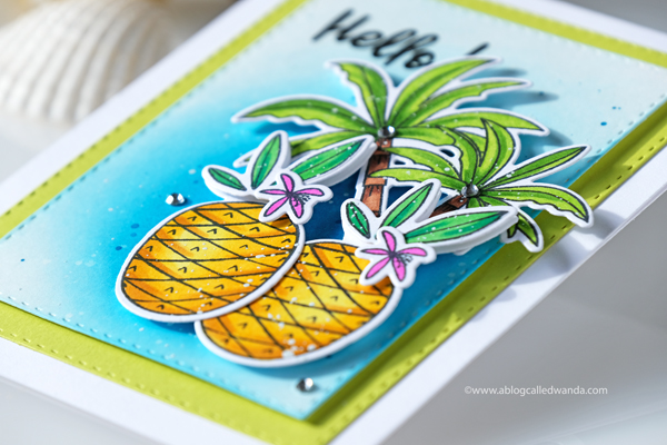 Tropical card with pineapples and palm trees. Copics. Mermaid Lagoon Distress Ink background