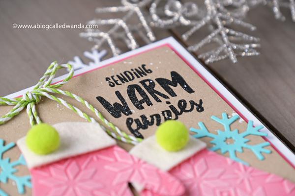 1 Ellen Hutson Snow Days stamps and dies. Warm winter greeting mittens