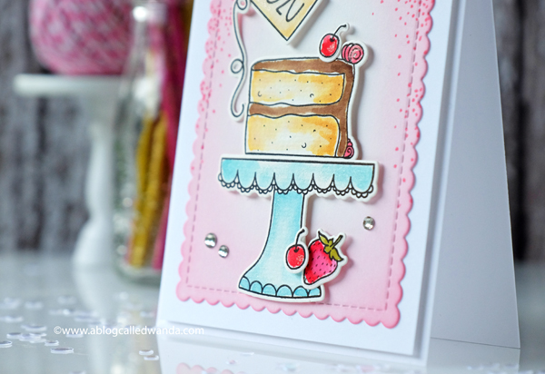 1 HONEY BEE STAMPS PIECE OF CAKE BIRTHDAY CARD. DISTRESS INK BACKGROUND. DISTRESS WATERCOLORING.