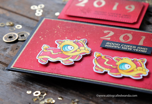 Red envelopes for Chinese New Year. Lion Dance. Dragon stamps and dies