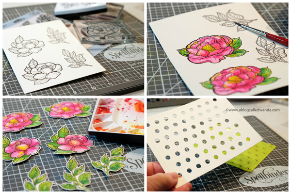 Watercolor peonies from Spellbinders.