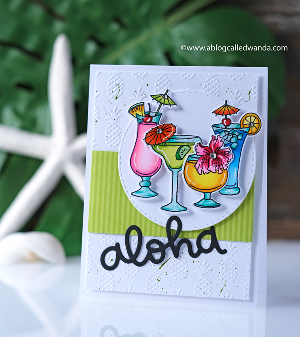 Tropical drinks card with Copic Markers. Aloha script from Lawn Fawn. Pink Ink Party Drinks stamps