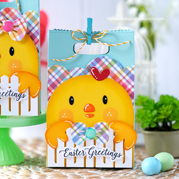 Mama Elephant Favor Bag Die and Chickie add on. Easter treats and spring colors. Lawn Fawn Rainbow paper.