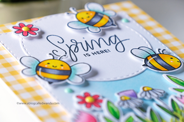 Fun spring card with bees and flowers. Copic Markers and Distress Ink blending.