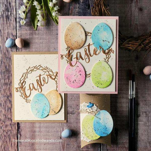 Pastel water color eggs. Pretty Pink Posh Easter Eggs die cut. Easter cards and treats. Handmade for Easter.