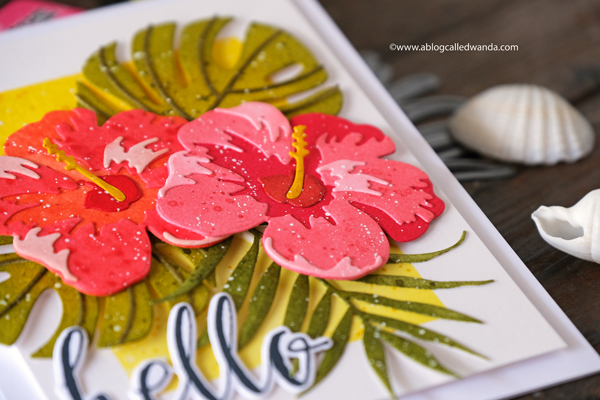 Altenew Hibiscus Garden Dies with Distress Inks. Wanda Guess. Tropical card. Handmade with stamps and dies