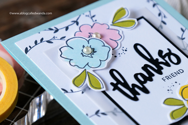 floral handmade card. thank you card ideas