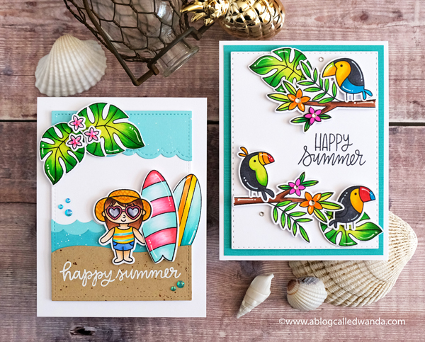 Pretty Pink Posh Blog Hop. Tropical Cards. Toucans, surfboards, leaves! Copic Coloring. Wanda Guess