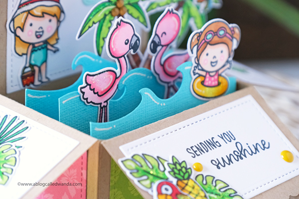 Sunny Studio Stamps and dies. Coastal Cuties, Catch a Wave, Flamingos, Palm Trees. Stamps and dies. Handmade cards.
