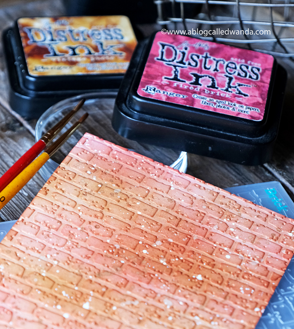 distress ink blending and blender brushes on embossing folder