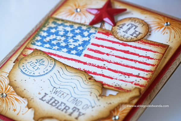 4th of July card ideas. Flag, US die, fireworks stamps, distress inks. Card by Wanda Guess