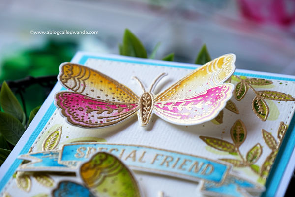 Penny Black Butterfly Garden. Mijello watercolors and gold embossing. Butterfly card. Wanda Guess