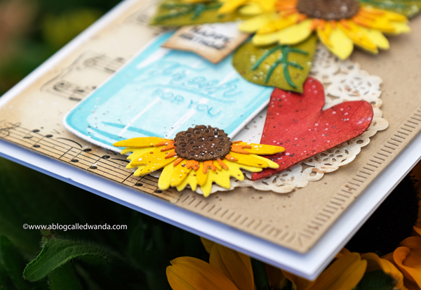 Mason Jar and Sunflower stamps and dies. Watercolor card with Distress Inks