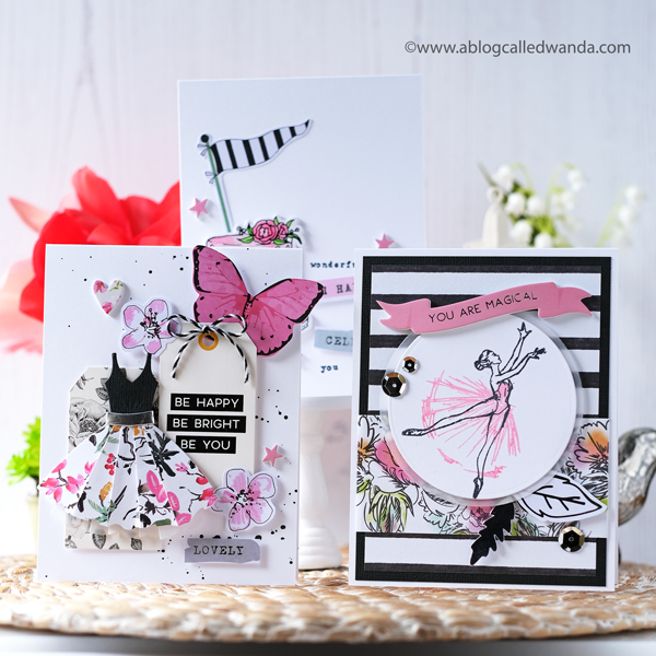 Spellbinders Card Kit April 2019. Ballet cards and pink/black theme