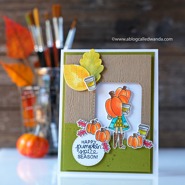 Newton's Nook Pumpkin Latte, Fall card, Distress ink water color, wanda guess