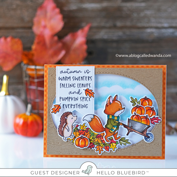 Hello Bluebird Stamps. Pumpkin Time stamp set. Leaf Play stamp set. Copic Markers. Wanda Guess