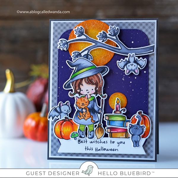 Hello Bluebird stamps Tabitha the witch. Copics, and distress ink blending. Wanda Guess guest designer