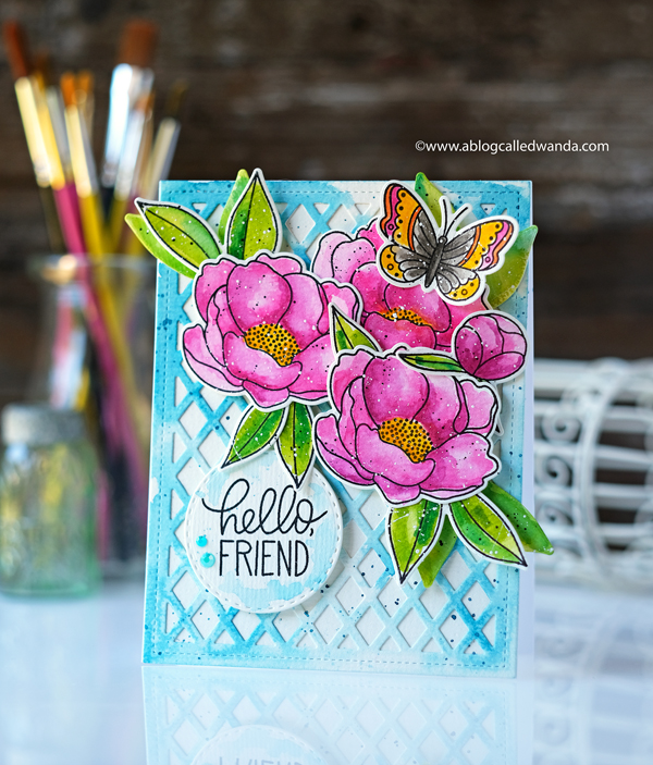 Pretty Pink Posh Peonies and Lattice Background. Stamping and die cutting. Mijello MIssion Watercolors. Wanda Guess