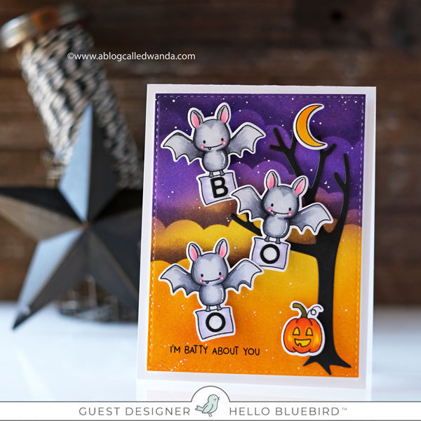 Hello Bluebird Spooky Spellers stamp set. Halloween card. Distress Ink Blending. Wanda Guess