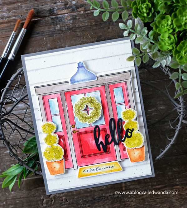 e watercoloring. Hello die, new house card. Wanda Guess. handmade card. housewarming
