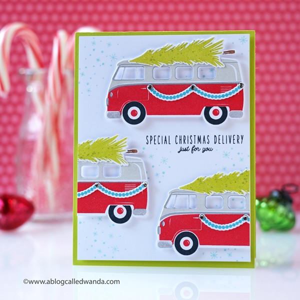 The Greetery winter new release. Care a van stamp set christmas card by wanda guess