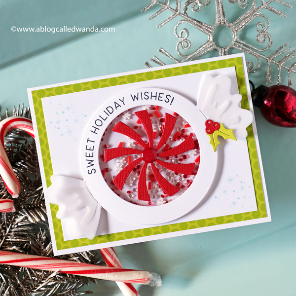 The Greetery Candy Pops Collection by Betsy Veldman. Shaker Card for CHristmas