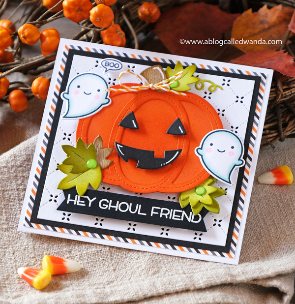 LAWN FAWN HALLOWEEN STAMPS AND DIES. STITCHED PUMPKIN. BOOYAH STAMP SET. HALLOWEEN. DISTRESS INKS. WANDA GUESS