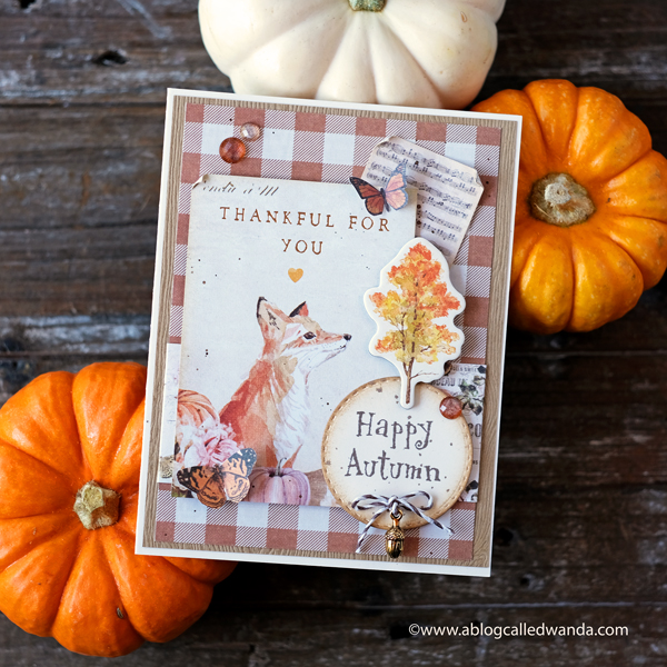 Prima Autumn Sunset Collection for Fall. Handmade card by Wanda Guess