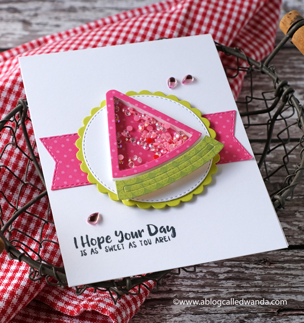 Queen and Company Fruit Basket Shaker Card Kit. Shaker card ideas. Fruity cards. Wanda Guess. Handmade watermelon card