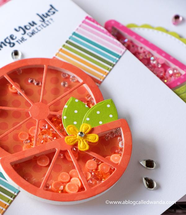 Queen and Company Fruit Basket Shaker Card Kit. Shaker card ideas. Fruity cards. Wanda Guess. Handmade