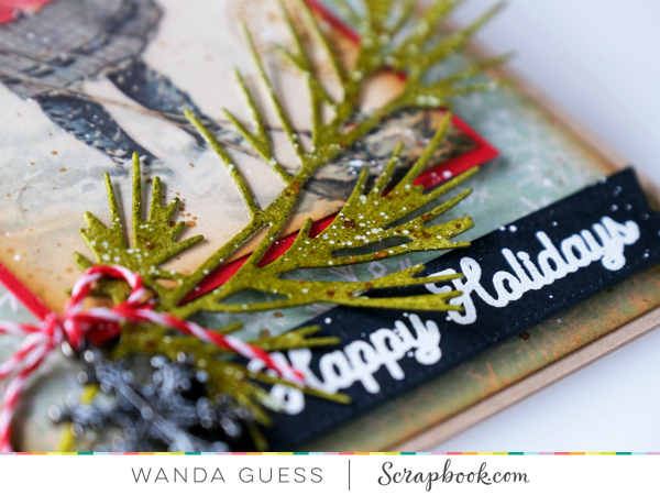 Scrapbook.com Christmas in July. New release Christmas stamps. Vintage Christmas card. Authentique Paper. Wanda Guess