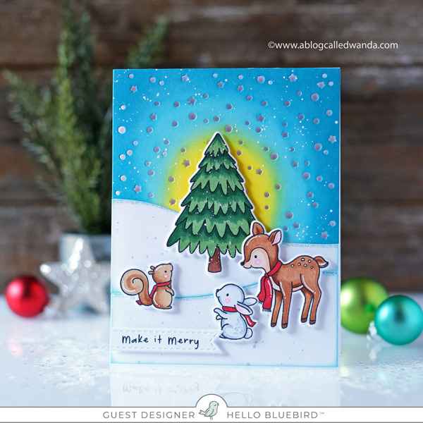 Hello Bluebird new release. Snowy Sky Scene Dies. O Christmas Tree stamp set. Distress Ink Blending. Copics. Wanda Guess, guest designer