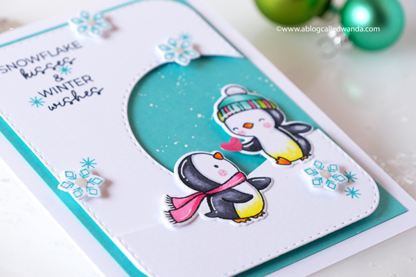 Hello Bluebird stamps and dies new release. Penguins stamps. First snow stamp set. Copics. Christmas card. Wanda Guess, guest designer