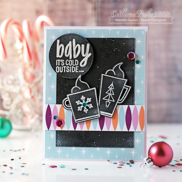 Catherine Pooler Retro Winter Collection. 2019 coffee and christmas cards. Wanda Guess Guest Designer. Chilly stamp set
