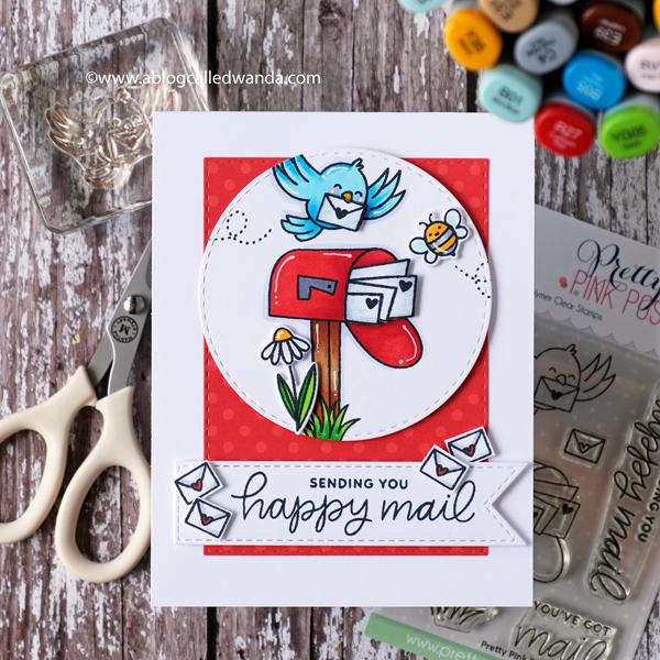 Pretty Pink Posh Happy Mail card. Copics. A Blog Called Wanda