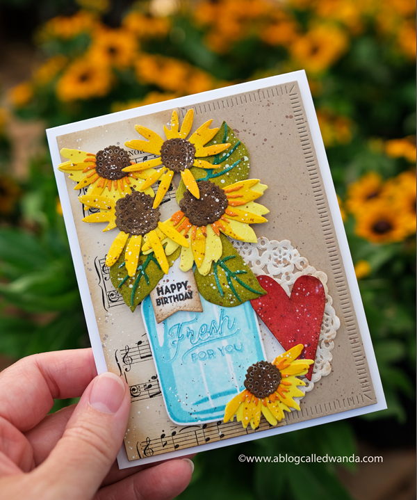 Betsy Veldman The Greetery Sunflower card. Distress Inks, Vintage card by Wanda Guess