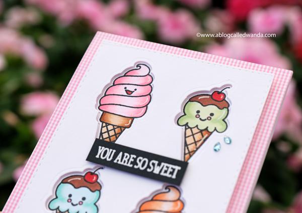 ice cream card with copics. inlaid die cuts. handmade card ideas.