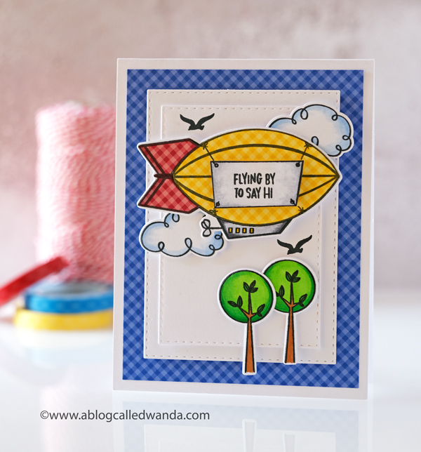 Ellen Hutson new release by Brandi Kincaid. Up in the air stamp set. Essentials by Ellen. Wanda Guess. Gingham paper, Blimp card, copics, card ideas