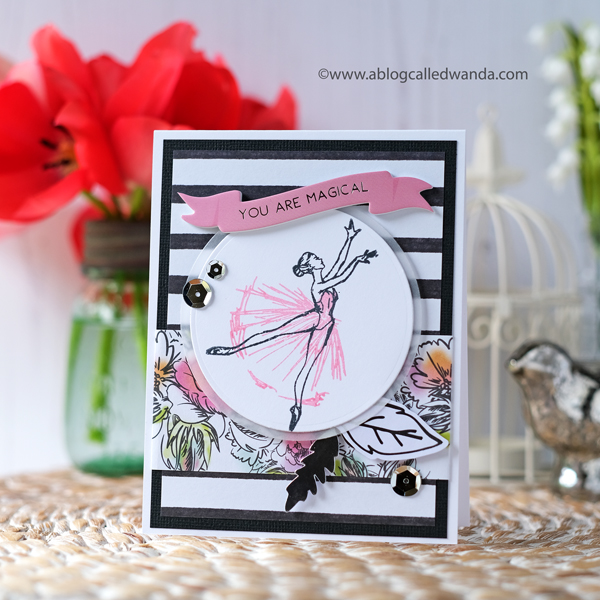 handmade card. ballet dancer card. stamps from spellbinders