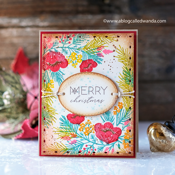 The Greetery Pine Blossoms and Nordic Frames. Christmas Card by Wanda Guess. Vintage distress inks.