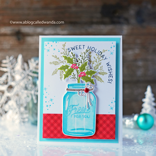 The Greetery Budding Beauties mason jar christmas card. stamps and dies. wanda guess