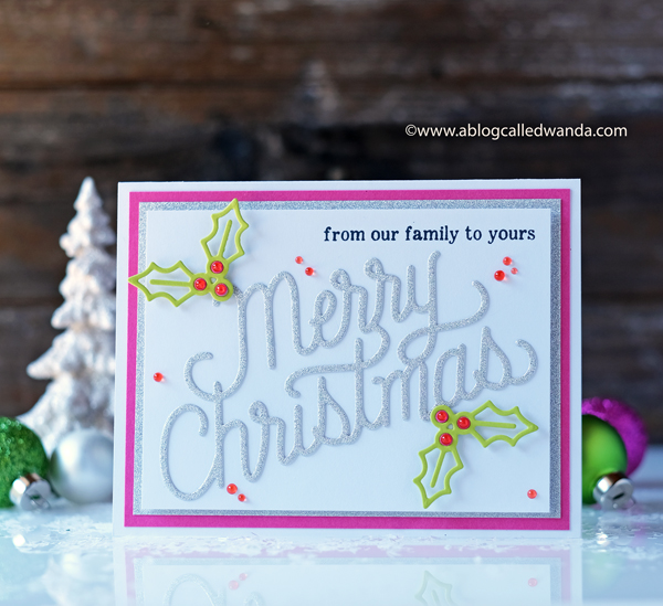 Hero Arts Christmas blog hop. Christmas message fancy die. Christmas card ideas with stamping and die cutting. wanda guess