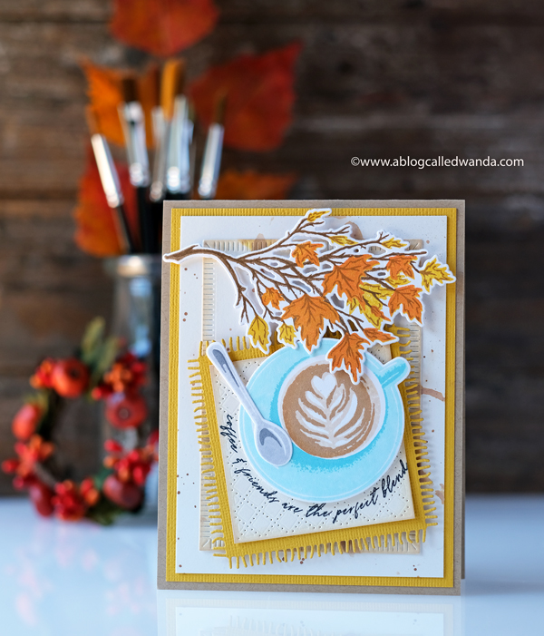 The Greetery Betsy Veldman new release. Cozy coffee, Autumn Sketches, Coaster. Wanda Guess