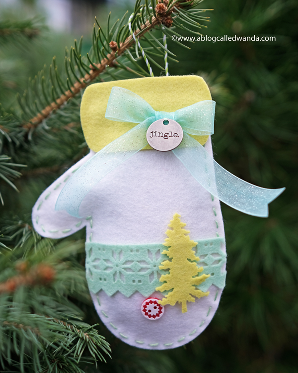 Felt mitten ornaments with dies and felt from Taylored Expressions. Wanda Guess. Christmas craft ideas.