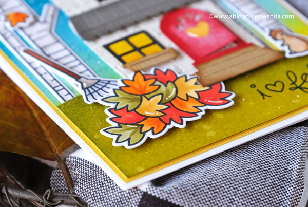 Lawn Fawn Build A House dies. Wanda Guess. Copics, Distress Ink blending. Autumn card. Wanda Guess