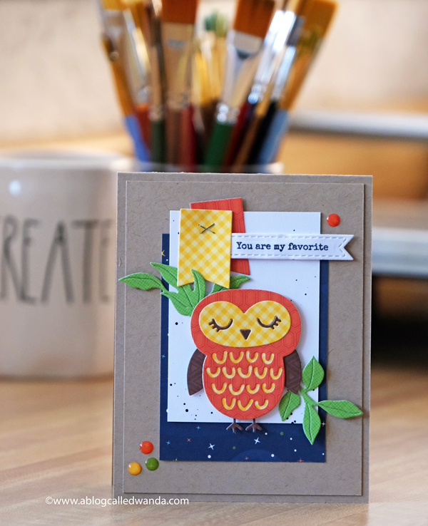 Echo Park Summer Adventure paper. Owl card with die cuts and stamping. Card ideas. Wanda Guess