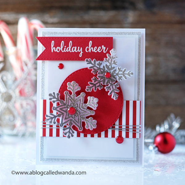 Reverse Confetti snowflakes stamps and dies. Handmade holiday winter christmas card. Nuvo embossing, Wanda Guess