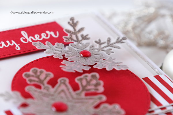 handmade christmas card ideas. Reverse Confetti snowflakes stamps and dies. Handmade holiday winter christmas card. Nuvo embossing, Wanda Guess