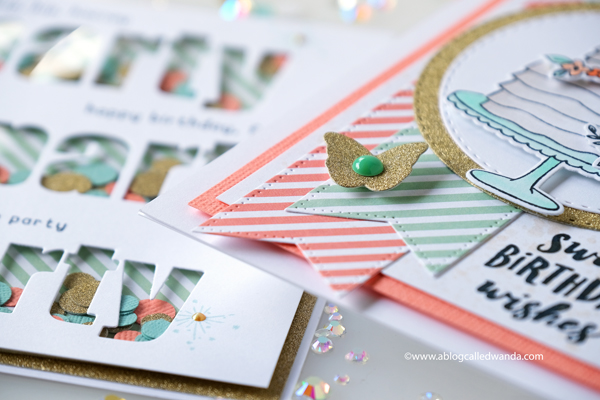 Reverse Confetti stamps and dies. Handmade birthday cards. Shaker Card. Copics. Wanda Guess